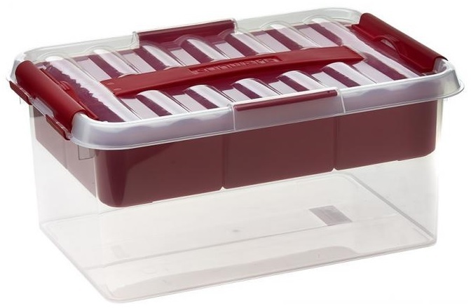 Multi-Sewing-Box Plastic - transparent / Red extra compartment inside Cover 6 L  sc 1 st  Teddies and bags & Multi-Sewing-Box Plastic - transparent / Red extra compartment ...